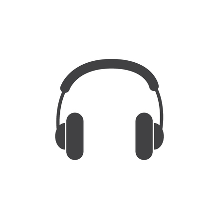 Headphone icon in black on a white background. Vector illustration