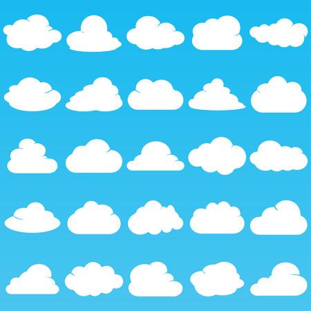 Witte vastgestelde kleur van het wolken de vectorpictogram op blauwe achtergrond. Sky flat illustratie collectie voor web, kunst en app ontwerp. Verschillende natuur cloudscape weersymbolen.