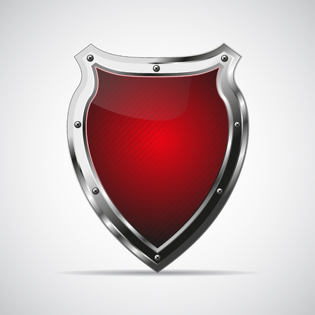 Metal red shield with shadow on a gray background. Vector illustration Illustration