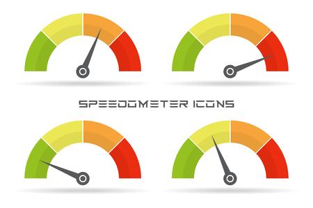 スピード メーターのアイコンのセットです。カラフルなインフォ グラフィックは、影を持つ要素を測定します。
