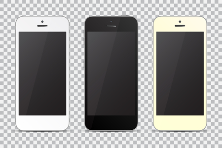 isolates: Set of smartphones. Black, white and golden. Vector illustration
