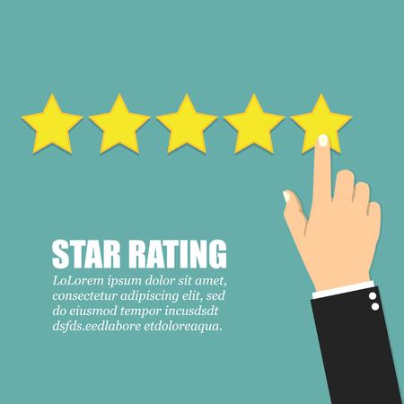 Hand met wijzende vinger wijzend naar rating sterren. Plat ontwerp Stockfoto - 80439780