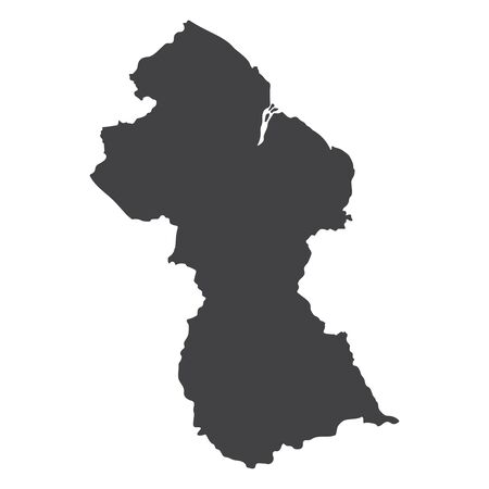 Guyana map in black on a white background. Vector illustration