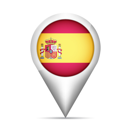 rounded circular: Spain flag map pointer with shadow. Vector illustration Illustration