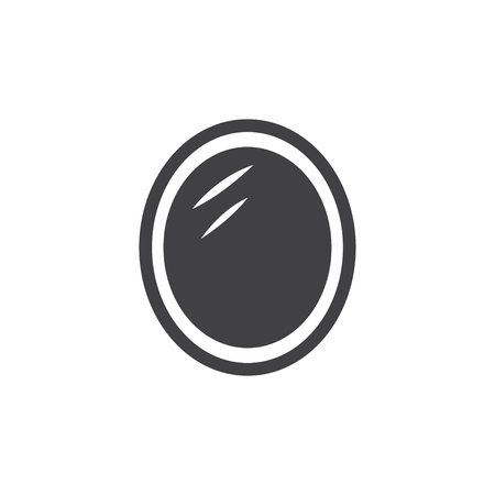 reflection in mirror: Mirror icon in black on a white background. Vector illustration Illustration