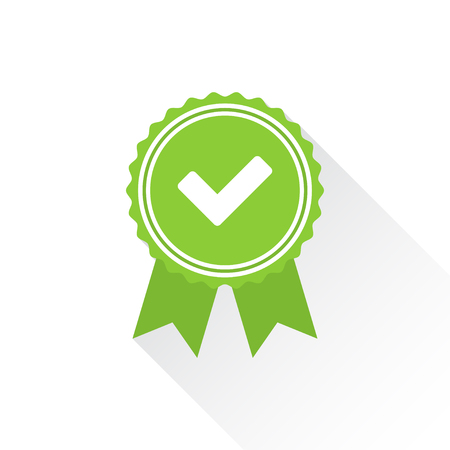 acception: Green approved or certified medal icon in a flat design with shadow