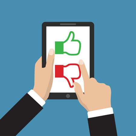 Website beoordeling feedback en review concept. Hand houden en wijst naar een tablet met een soortgelijke en ongelijke handtekenknop op het scherm Stock Illustratie