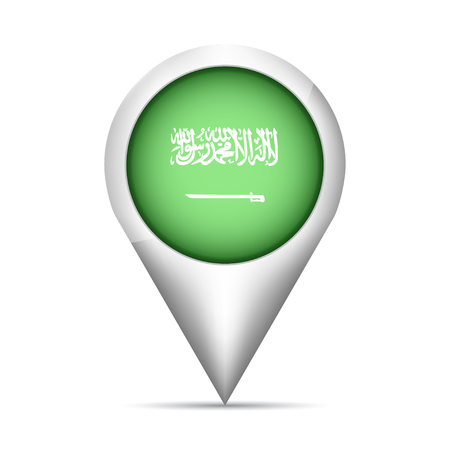 rounded circular: Saudi Arabia flag map pointer with shadow. Vector illustration