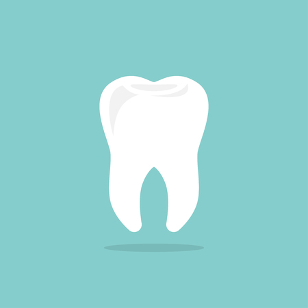 Tooth icon with shadow. Flat design style. Tooth silhouette Illustration