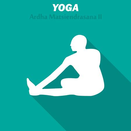 Ardha Matsiendrasana. Yoga workout icon with long shadow. Vector illustration