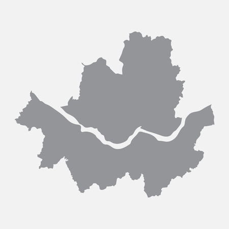 Seoul city map in gray on a white background