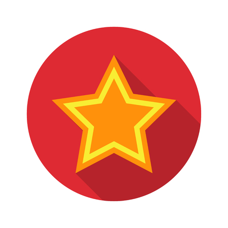 rate: Star icon with shadow in a circle. Vector illustration