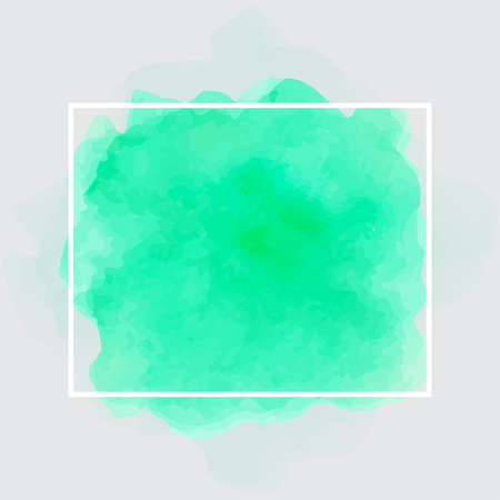 Green watercolor background with white frame. Vector illustration