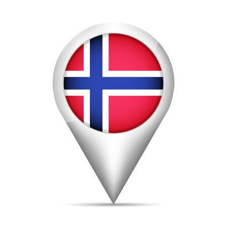 norway flag: Norway flag map pointer with shadow. Vector illustration Illustration