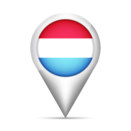 Luxembourg flag map pointer with shadow. Vector illustration Vektorové ilustrace