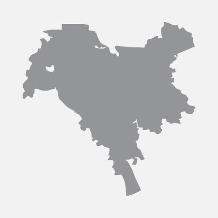 흰색 배경에 회색 키예프 도시지도