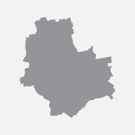 Warsaw city map in gray on a white background