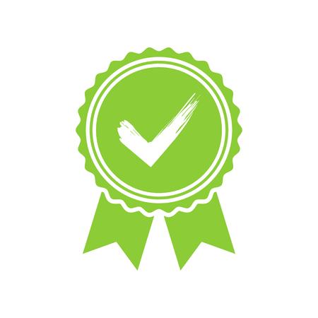 Groen goedgekeurd of gecertificeerd medaille icoon in een plat ontwerp