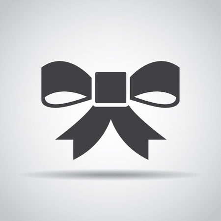 christmas tree illustration: Bow icon with shadow on a gray background. Vector illustration