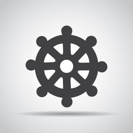 dharma: Wheel of Dharma icon with shadow on a gray background. Vector illustration