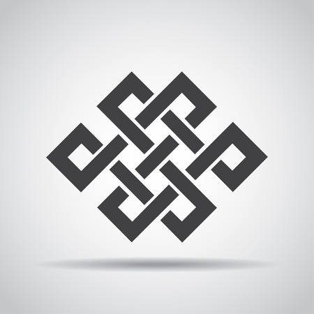 rope folk: Endless knot icon with shadow on a gray background. Vector illustration Illustration