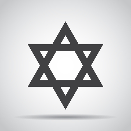 Star of David icon with shadow on a gray background. Vector illustration