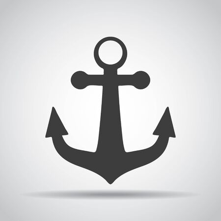 Anchor icon with shadow on a gray background. Vector illustration