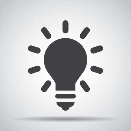 Lightbulb icon with shadow on a gray Illustration