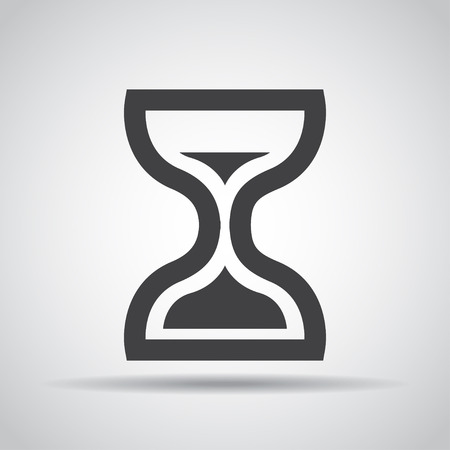 fifteen: Hourglass icon with shadow on a gray background.