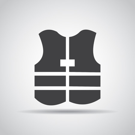 Jacket icon with shadow on a gray background.