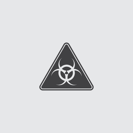 uranium: Toxic sign icon in a flat design in black color. Vector illustration eps10