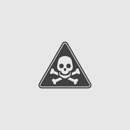 toxic substance: Danger sign icon in a flat design in black color. Vector illustration eps10