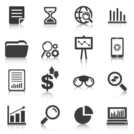 Set of data analysis icons, charts, graphs. Vector illustration Ilustração