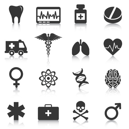 Set of medical icons, healthcare, pharmacy. Vector illustration Ilustrace