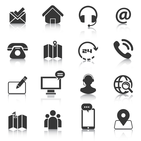Set of contact us icons, map location, phone . Vector illustration