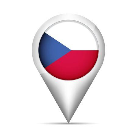 チェコ共和国の国旗は、影を持つポインターをマップします。ベクトル図  イラスト・ベクター素材
