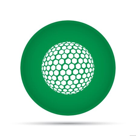Golf ball icon on a circle on a white background. Vector illustration