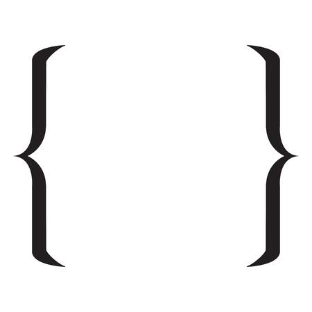 引用記号です。白い背景の上のブラケット アイコン。ベクトル図  イラスト・ベクター素材