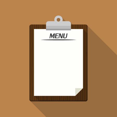 paper note: Blank vintage clipboard. Menu restaurant template retro design. Vector illustration
