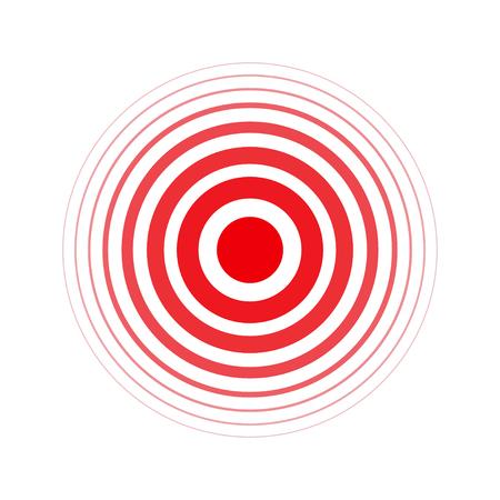 Geïsoleerde vette vector rode ring. Pijn cirkel. Symbool van pijn. Voor uw medische ontwerp Stock Illustratie