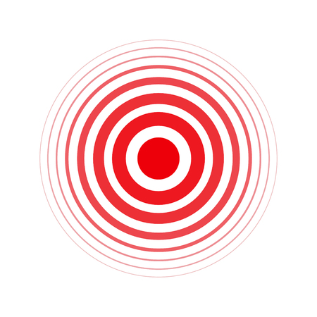 Isolated bold vector red ring. Pain circle. Symbol of pain. For your medical design