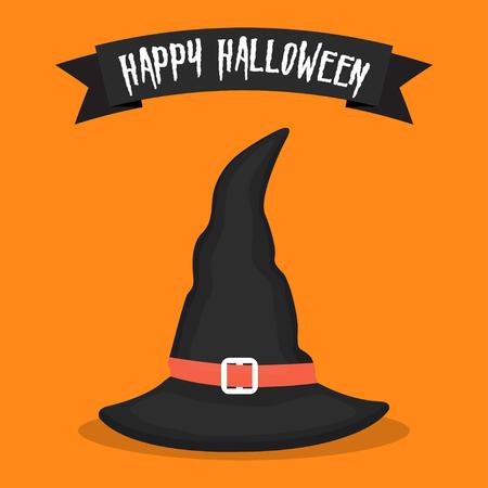 Witch hat icon on orange background. Halloween icon. Vector illustration Illustration