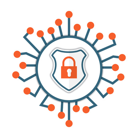 Cyber security icon. Shield with lock. Vector illustration