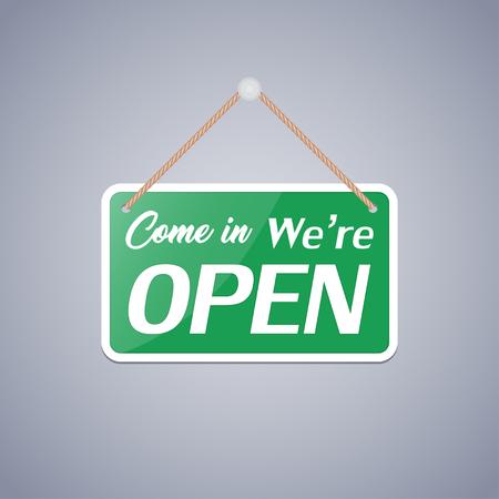 入って来るというビジネスサインは、背景が灰色で開いています。