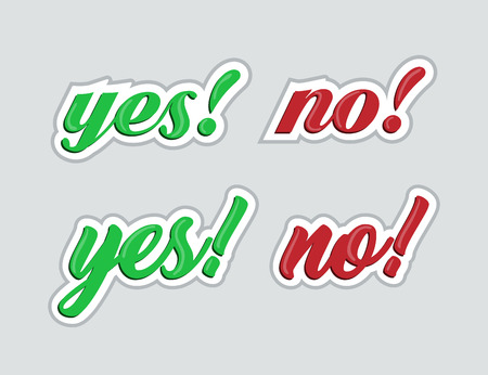 Yes and no. Stickers for social networks. Vector illustration Illustration