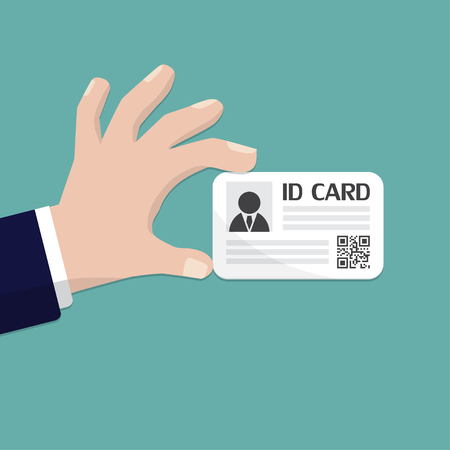 Hand holding an id card. Vector illustration flat design. Ilustracja