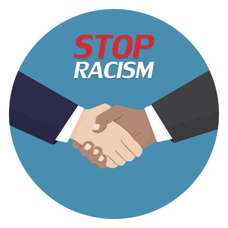 人種差別のポスターはダメだ差別記号。ハンドシェイク アイコン。ベクトルイラスト