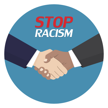 No to racism poster. Discrimination symbol. Handshake icon. Vector illustration