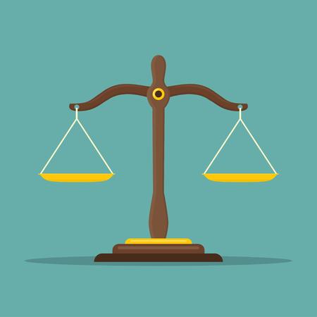 Justice scale icon. Law balance symbol. Libra in flat design. Vector illustration. Illustration