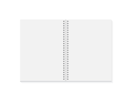 Realistic opened notebook. Vertical blank copybook with metallic silver spiral. Template of organizer or diary isolated.